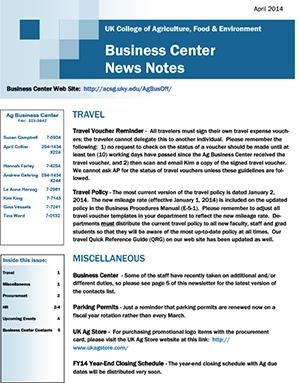 CAFE Business Center News Notes - April 2014