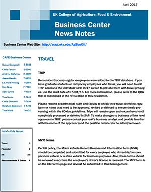 CAFE Business Center News Notes - April 2017