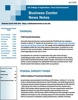 CAFE Business Center News Notes - April 2018