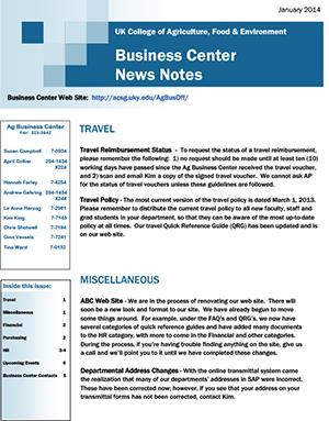 CAFE Business Center News Notes - January 2014