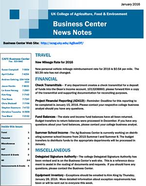 CAFE Business Center News Notes - January 2016