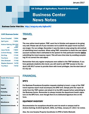CAFE Business Center News Notes - January 2017