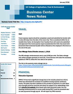 CAFE Business Center News Notes - January 2018