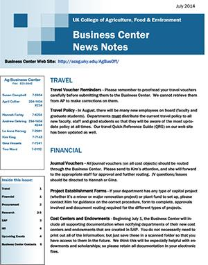 CAFE Business Center News Notes - July 2014