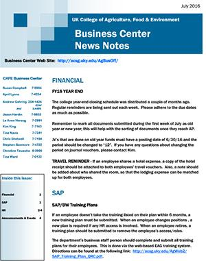 CAFE Business Center News Notes - July 2016