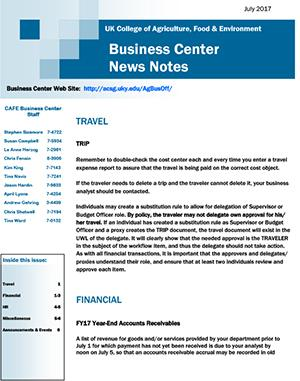 CAFE Business Center News Notes - July 2017