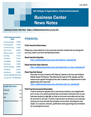 Screenshot of the first page of the July 2019 Newsletter