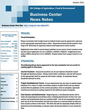 CAFE Business Center News Notes - October 2014