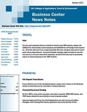 CAFE Business Center News Notes - October 2017