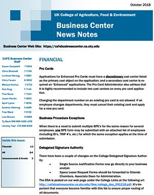 CAFE Business Center News Notes - October 2018
