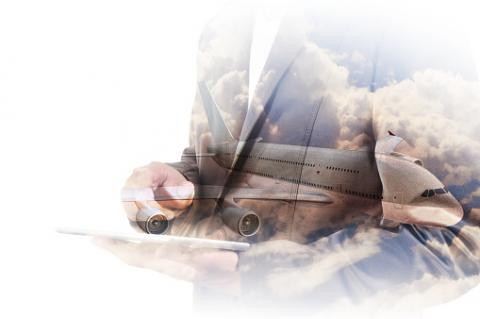 PHOTO: Thinkstock.com. Double Exposure of Businessman use Computer Tablet with Airplane