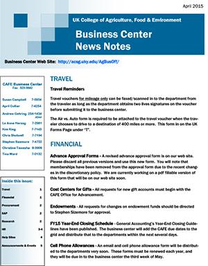 CAFE Business Center News Notes - April 2015