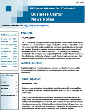 CAFE Business Center News Notes - April 2016