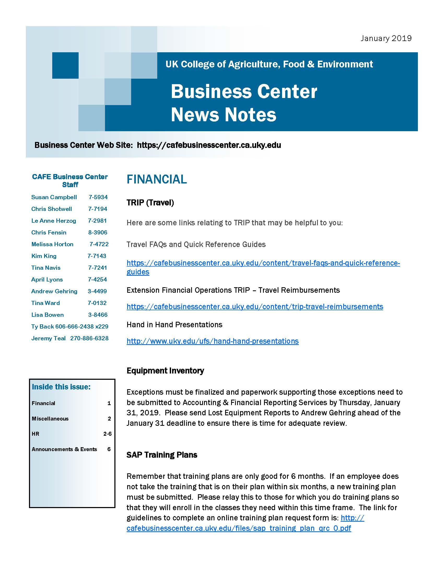 CAFE Business Center News Notes - January 2019