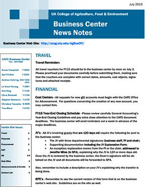 CAFE Business Center News Notes - July 2015