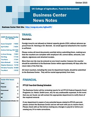 CAFE Business Center News Notes - October 2015